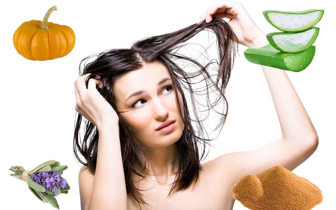Mascarilla para cabello graso con aloe, calabaza y salvia